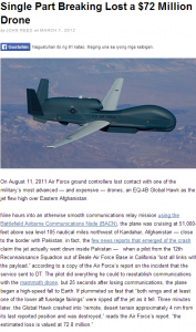 single part breaking lost a 72 million drone