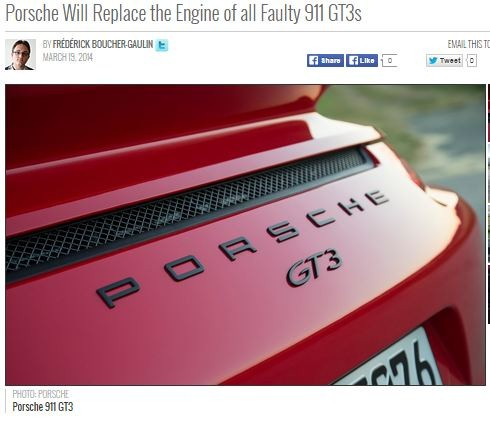 porsche will replace the engine of all faulty 911 gt3s